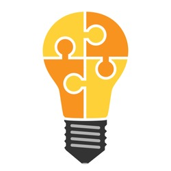 Yellow light bulb consisting of puzzle pieces isolated. Idea, business, solution, work, insight, brainstorm concept. Flat style. EPS 8 vector illustration, no transparency