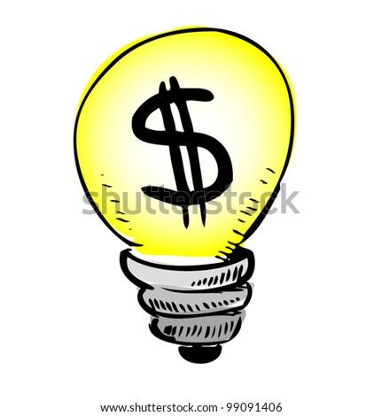 Yellow Light Bulb Icon Yellow Light Bulb With Dollar