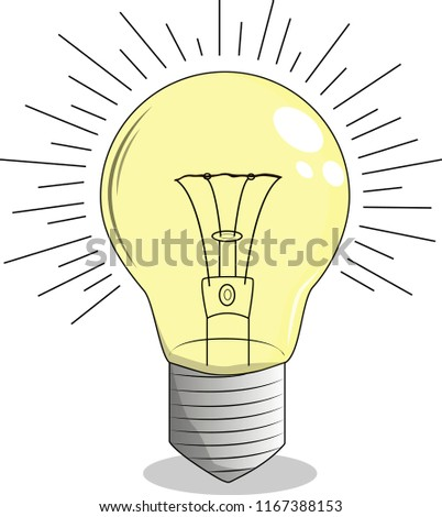 Yellow light bulb with incandescent spiral, with shadows and highlights, in eps 10 format, vector