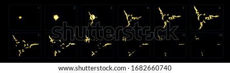 Yellow lightning animation, Electricity fairing animation. Spark animation explosion. Sprite sheet for game, cartoon or animation- vector