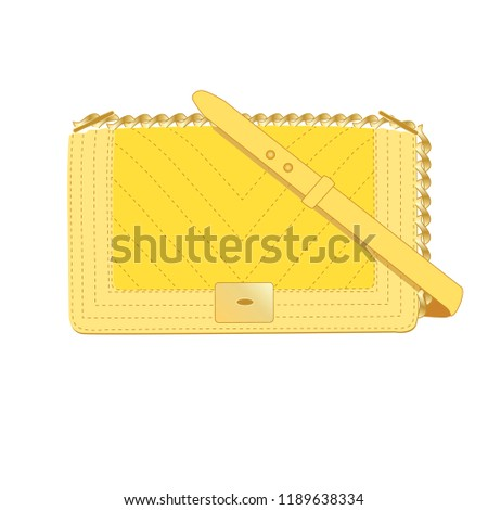 Yellow like Chanel handbag brand Editorial isolated on white background