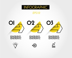 yellow linear infographic outline arrows, outline concept
