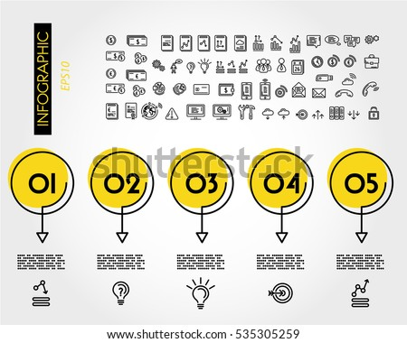 yellow linear infographic set
