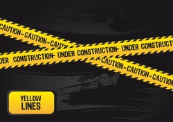yellow lines with under construction text, grunge. vector