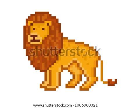 yellow lion  cartoon pixel art...