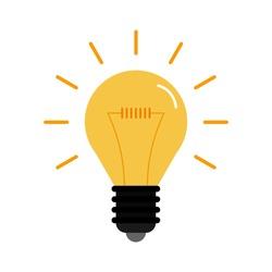 Yellow luminous bulb on a white background. Flat style. Vector illustration