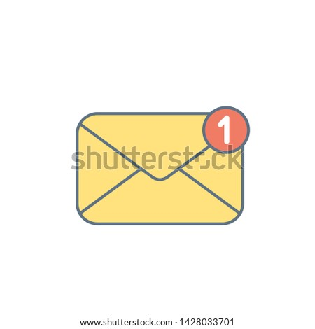 Yellow mail envelope icon. Mail notification with red marker One Message. Delivery of messages, sms. Vector illustration in flat style.