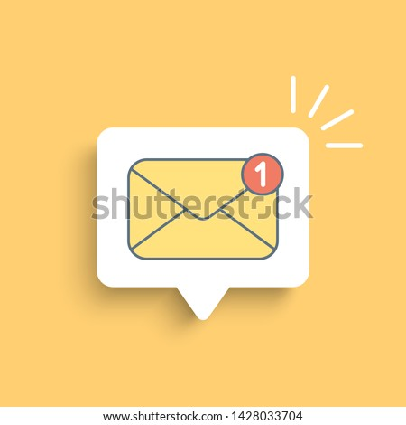 Yellow mail envelope on white bubble. Mail notification with red marker One Message. Delivery of messages, sms. Vector illustration in flat style.
