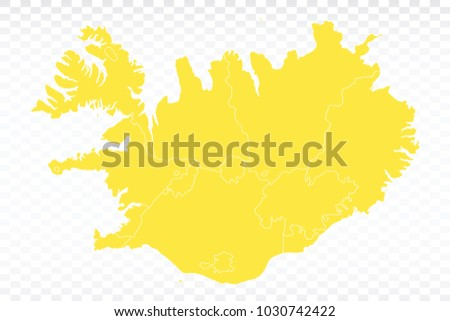 yellow map iceland map each city and border has separately for your
