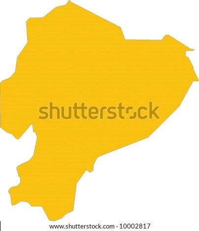 Ecuador Vector Map Yellow Map of Ecuador