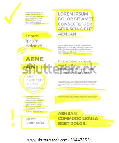 yellow marker text selection vector set