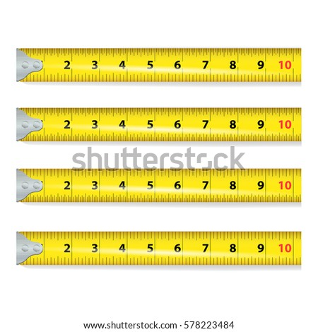 Yellow Measure Tape Vector. Measure Tool Equipment In Inches. Several Variants, Proportional Scaled.