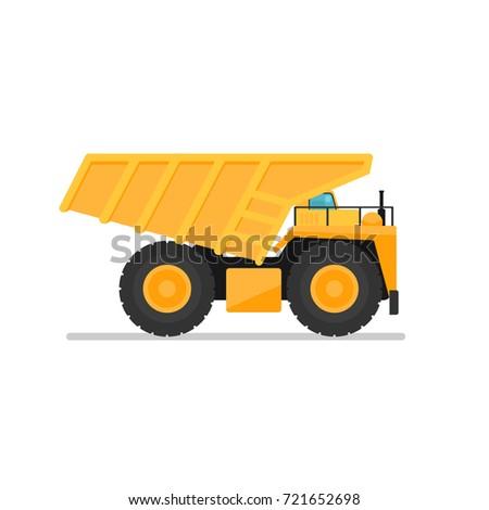 Yellow mining dump truck. Vector illustration isolated on white background