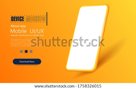 Yellow modern smartphone with blank screen in a white studio.  Cellphone frame with blank display isolated templates, phone different angles views. Template for infographics or presentation UI design