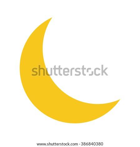 yellow moon icon isolated on