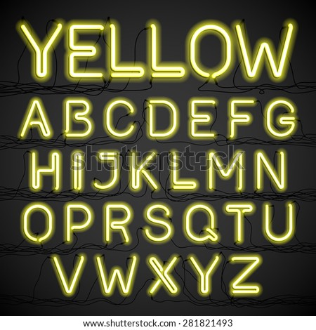 yellow neon light alphabet with