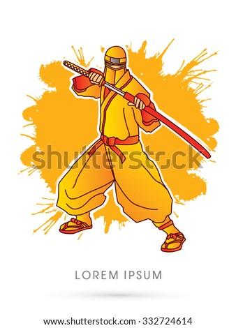 yellow ninja and sword on
