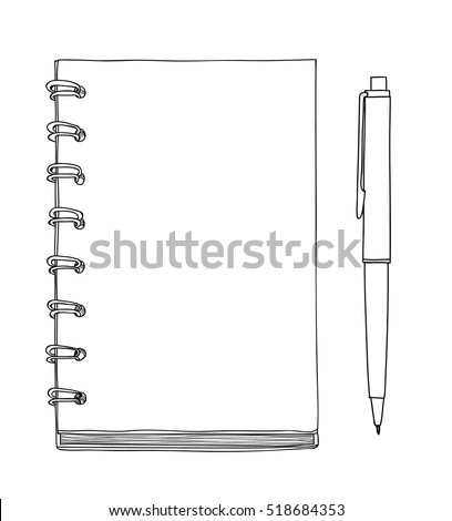 yellow Notebook and pen vector hand drawn cute line art illustration