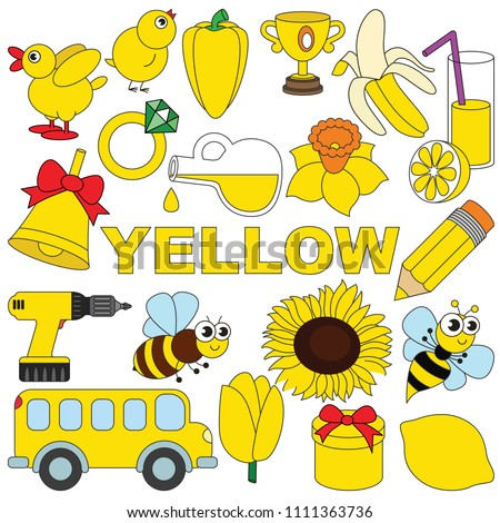 Yellow Objects Color elements set, collection of coloring book template, the group of outline digital elements vector illustration, kid educational game page.