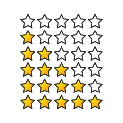 Yellow or gold gradient Star raiting icons. Giving five stars raiting flat design. Vector illustration isolated on white background.