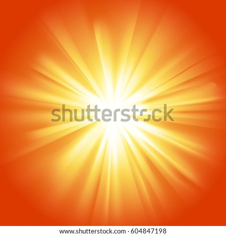 Yellow orange glowing light. Transparent graphic design element. Poster, card, flyer or invitation background. Colorful gradient rays with glaring effect. Abstract glowing sparkle. Vector illustration