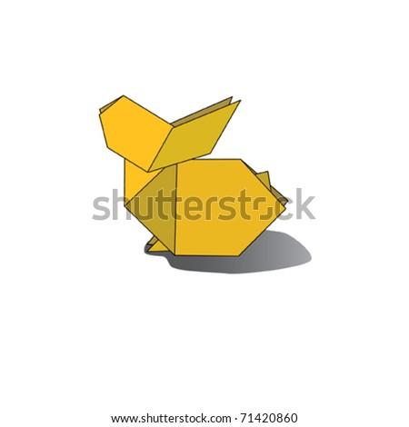 Yellow origami rabbit. Vector illustration