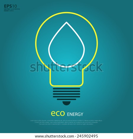 Yellow outline bulb with drop as logo with copyspace on blue background. Idea of eco-friendly source of energy. Water energy. Alternative power logo. Green energy logo. Eco power logo. Eco energy logo