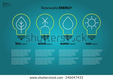 Yellow outline bulb with sun as logo with copyspace on blue background. Idea of eco-friendly source of energy. Renewable energy source. Energy conservation. Energy efficiency. Energy saving. Eco logo