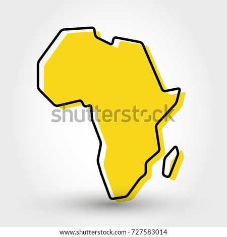 yellow outline map of Africa, stylized concept