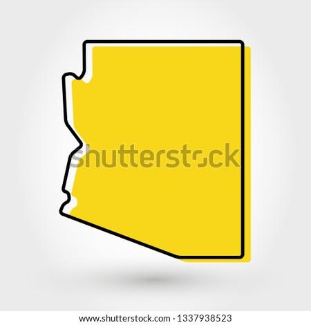 yellow outline map of Arizona, stylized concept