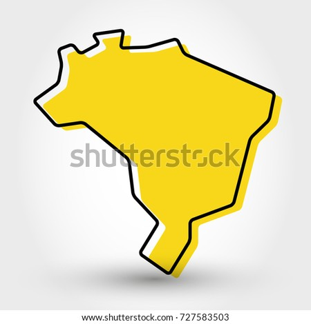yellow outline map of brazil