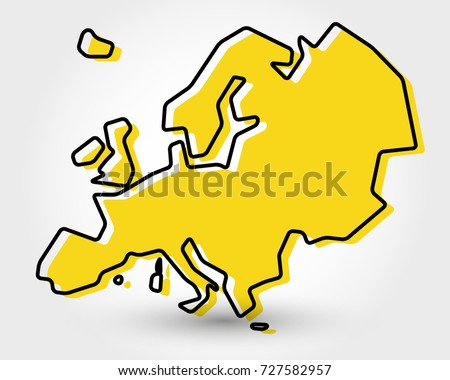 yellow outline map of Europe, stylized concept