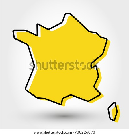 yellow outline map of France, stylized concept