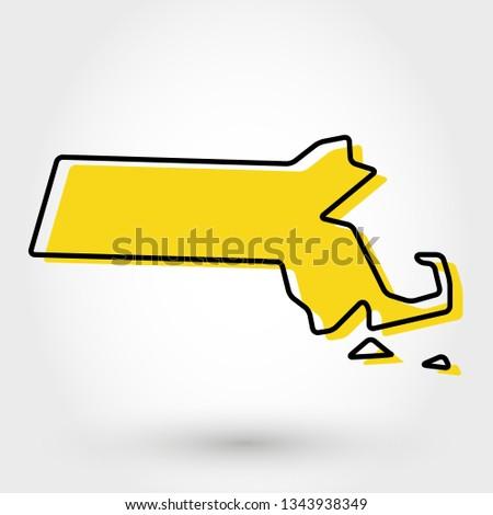 yellow outline map of Massachusetts, stylized concept Stock fotó ©
