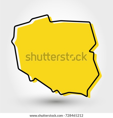 yellow outline map of Poland, stylized concept