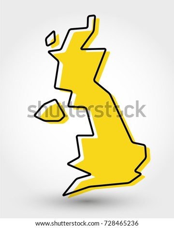 yellow outline map of UK, stylized concept