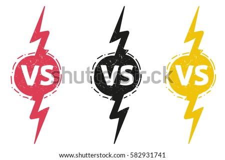 yellow outline versus sign like opposition. concept of confrontation, together, standoff, final fighting. isolated on white background.   VS Stock photo ©