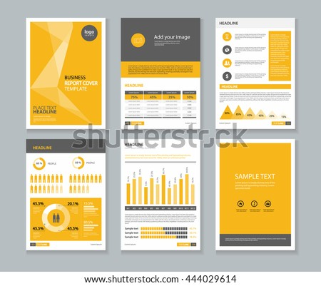 Yellow Page Business Company Profile And Annual Report Layout Template With  Infographics Elements , A 4  Company Portfolio Template