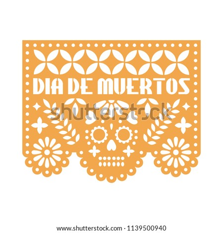 Yellow paper with cut out flowers and geometric shapes. Papel Picado vector template design isolated on white background. Traditional Mexican paper garland for celebrating Day of the Dead. Foto stock ©