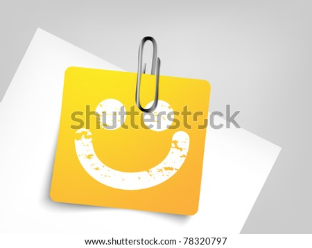 Yellow paper with pin - smile