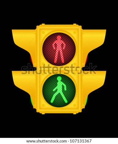 Yellow pedestrian traffic lights on black, vector, 10eps.