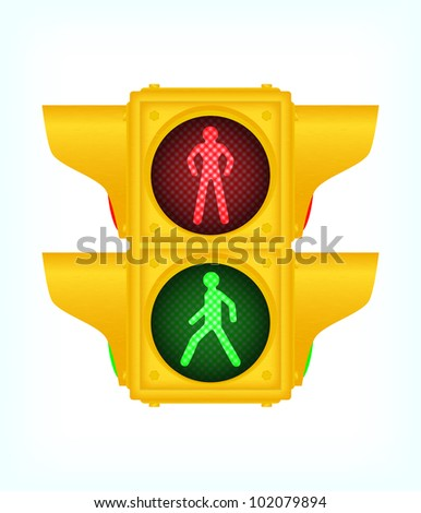 Yellow pedestrian traffic lights, vector, 10eps.