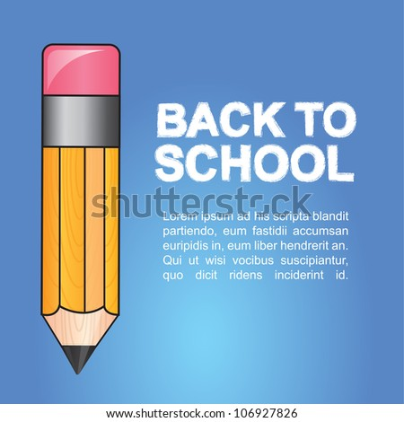 Yellow pen on blue background, Back to school illustration