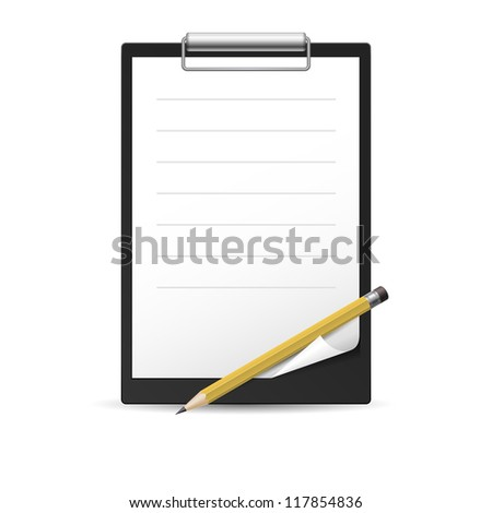 Yellow Pencil and notepad icon. Illustration on white background