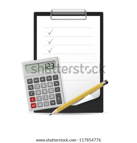 Yellow Pencil, calculator and notepad icon. Illustration on white