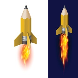 Yellow Pencil Rocket Ship with Fire. Isolated on White and Dark Blue Background. Flying Pencil Symbol of Knowledge and Inspiration Illustration