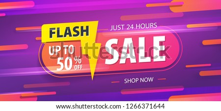 Yellow pink tag Flash sale 24 hour 50 percent off promotion website banner heading design on graphic purple background vector for banner or poster. Sale and Discounts Concept.