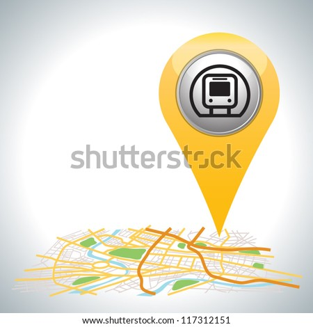 yellow pointer, transport on city map.