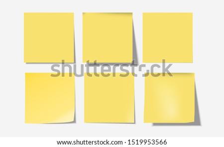 yellow 6 post notes set vector