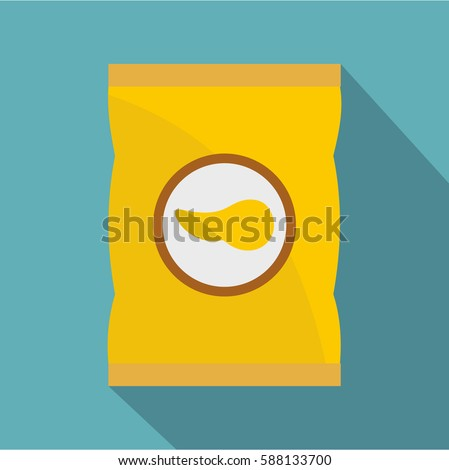 Yellow pouch of potato chips icon. Flat illustration of yellow pouch of potato chips vector icon for web isolated on baby blue background